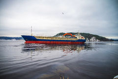 Hagland borg leaving halden harbor Stock Photo