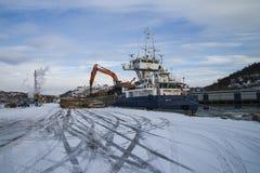 Hagland boss, unloads timber Royalty Free Stock Photo