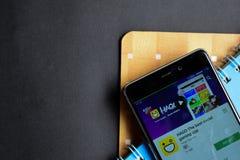 HAGO-The hazardu app najlepszy ogólnospołeczny dev app na Smartphone ekranie obrazy stock