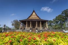 Hagtorn Phra Kaew är en tidigare tempel i Vientiane, Laos Arkivbilder
