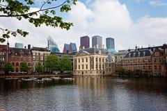 The Hague, Den Haag, Netherlands. Binnenhof parliament with modern skyscrapers, the Hague, Den Haag, Netherlands stock photo