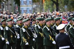 Soldiers on Prinsjesdag. THE HAGUE, HOLLAND - SEPTEMBER 19, 2017: Soldiers accompanying the Golden Coach with Queen Maxima and King Willem-Alexander on Stock Photography