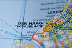 The Hague on map. Close up shot of The Hague on a map Stock Image