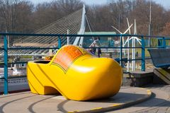 THE HAGUE, THE NETHELANDS: Miniature park Madurodam. Huge yellow wooden traditional clog royalty free stock photography