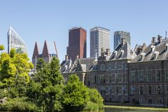 View of the Binnenhof from the palace pond. royalty free stock photo