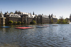 The Hague. NETHERLANDS - MAY 5, 2016: The Binnenhof buildings beside Hofvijver Court Pond, Dutch Parliament and the core of Royalty Free Stock Images