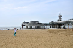 The Hague, Netherlands - May 8, 2015: Children playing at the beach, Scheveningen district Stock Photography