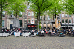 The Hague, Netherlands - May 8, 2015: Dutch People at Cafeteria in Het Plein Royalty Free Stock Photography