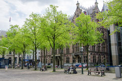 The Hague, Netherlands - May 8, 2015: People at Het Plein in center of The Hague Stock Photo