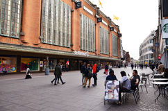 The Hague, Netherlands - May 8, 2015: People shopping at market street in the center of The Hague Royalty Free Stock Photo