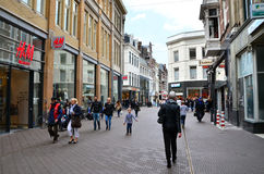 The Hague, Netherlands - May 8, 2015: People shopping on venestraat shopping street in The Hague Stock Photo