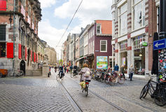 The Hague, Netherlands - May 8, 2015: People shopping on venestraat shopping street in The Hague Stock Images