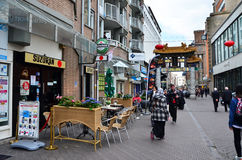 The Hague, Netherlands - May 8, 2015: People visit China town in The Hague Royalty Free Stock Photos