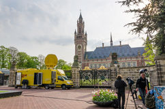 The Hague, Netherlands - May 8, 2015: Reporters at The Peace Palace in The Hague, Netherlands. Royalty Free Stock Photography
