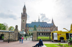 The Hague, Netherlands - May 8, 2015: Reporters at The Peace Palace in The Hague, Netherlands. Royalty Free Stock Photo