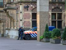Police officers of the Royal Netherlands Marechaussee royalty free stock photo