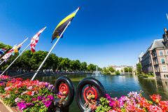 View of Hofvijver Lake in the city center of Den Haag. THE HAGUE, NETHERLANDS - MAY 26, 2017: View of Hofvijver Lake in the city center of Den Haag on May 26 stock photos