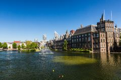 View of Hofvijver Lake in the city center of Den Haag. THE HAGUE, NETHERLANDS - MAY 26, 2017: View of Hofvijver Lake in the city center of Den Haag on May 26 royalty free stock photography