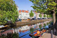 The Hague in Netherlands. Picturesque canal in the city of Hague (Den Haag), Holland, Netherlands Royalty Free Stock Image