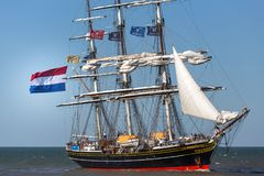 The hague, the hague/netherlands - 01 07 18: sailing ship stad amsterdam on the ocean the hague netherlands. With full flags stock images
