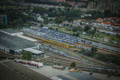 The Hague, NL in tilt-shift miniature. Taken from a hot-air balloon royalty free stock photography
