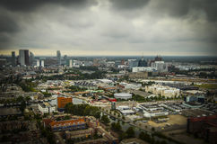 The Hague, NL in tilt-shift miniature. Taken from a hot-air balloon stock image