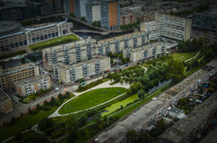 The Hague, NL in tilt-shift miniature. Taken from a hot-air balloon royalty free stock image