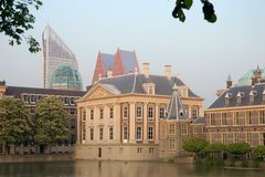 The Hague - Parliament. View on Houses of Parliament and Mauritshuis Museum. Building to the center-left is the Mauritshuis museum, while the little tower just Stock Photography