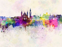 The Hague V2 skyline in watercolor Stock Photography
