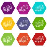 HAHA, comic text sound effect icon set color hexahedron Stock Image