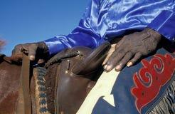 HaHands d'un vieil éleveur de bétail indigène dans l'Australie d'outbacl Photo stock