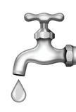 Hahn für Wasser und Tropfen Stockfotografie