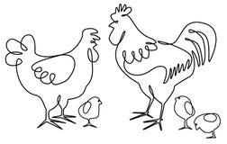 Hahn, Henne und Hühner ein Federzeichnungsdesign Lizenzfreies Stockbild
