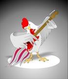 Hahn mit einer Gitarre stock abbildung