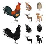 Hahn, Tiger, Rotwild, Eule und andere Tiere Tiere stellten Sammlungsikonen in der Karikatur, schwarzer Artvektor-Symbolvorrat ein Stockfotos