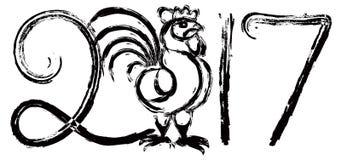 Hahn-Tinten-Bürsten-Illustration des Chinesischen Neujahrsfests Stockfoto