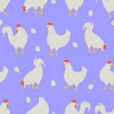 Hahn- und Hühnermusterblau lizenzfreie abbildung