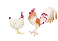 Hahn und Henne bei der Unterhaltung Lizenzfreies Stockfoto