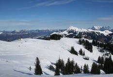 Hahnenkamm Ski Run, Austria. The slope of the beautiful Hahnenkamm in Austria stock photo