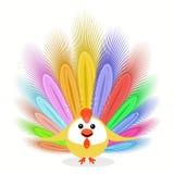 Hahnhuhn Symbol des Ikonenbildjungen hahns nettes Weihnachts mit Federn zu für Design aufwenden, die Presse, T-Shirts Lizenzfreies Stockbild
