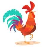 Hahnkarikatur Illustrationsgruß-Kartendesign für guten Rutsch ins Neue Jahr 2017 Lizenzfreie Stockbilder
