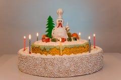 Hahnkuchen-Hennenkuchen, Hühnerkuchen, Vogelkuchen Stockfotografie
