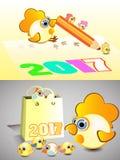 Hahnsymbolkalender 2017 schreibt mit einem Bleistift Stockbilder