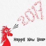 Hahnvogelkonzept des Chinesischen Neujahrsfests des Hahns Gezeichnete Skizzenillustration des Vektors Hand Lizenzfreies Stockbild