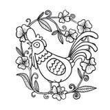 Hahnzeichnung mit Blumenrahmen, lokalisierte Illustration lizenzfreies stockbild