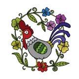 Hahnzeichnung mit Blumenrahmen, lokalisierte Illustration stockfoto