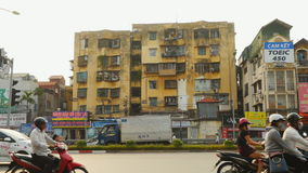 HAHOI, VIETNAM - OCTOBER 13, 2016: Old dirty yellow residential house in Hanoi Vietnam. stock video