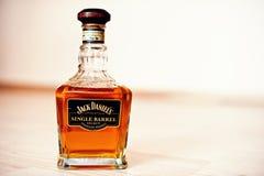 Hai, de Oekraïne - circa kan, 2016: Fles whisky Jack Daniels Si stock foto's