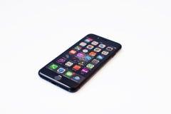 Hai, de Oekraïne - Februari 28, 2017: Apple Iphone 7 vertoning op verstand Stock Afbeeldingen