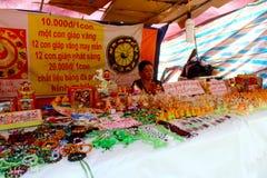 HAI DUONG, VIETNAM, SEPTEMBER, 6: Asian woman selling jewelry lu Stock Photos